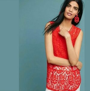 Anthropologie Tiny Red Orange Crocheted Top XS